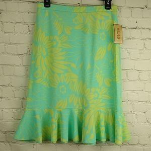 Michael Michael Kors Skirt 4 Yellow Blue Ruffle